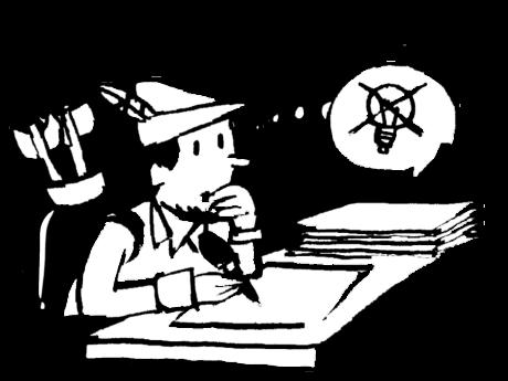 Wörterwald. Illustration Robin Hood will einen Text schreiben, aber ihm fehlt die Idee