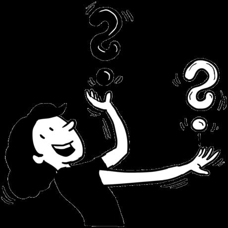 Befragungsstation: Illustration Mädchen jongliert mit Fragezeichen