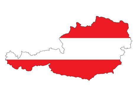 Landkarte von Österreich, gefüllt in Rot-Weiss-Rt