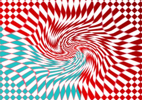 Karomuster wird in der Bildmitte zu Spirale verzerrt