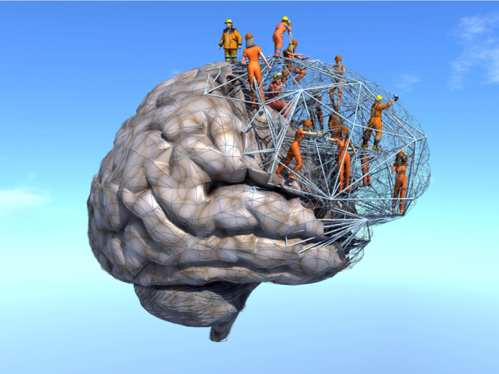 Illusttration eines Gehirns, bei dem ein Teil durch ein Baugerüst mit Bauarbeiter*innen ersetzt ist