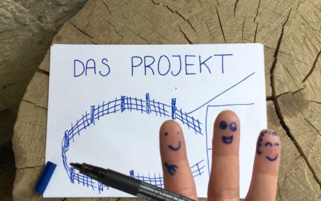 Screenshot vom Video: die drei Finger mit aufgezeichneten Figuren skizzieren das Projekt auf einem Zettel.