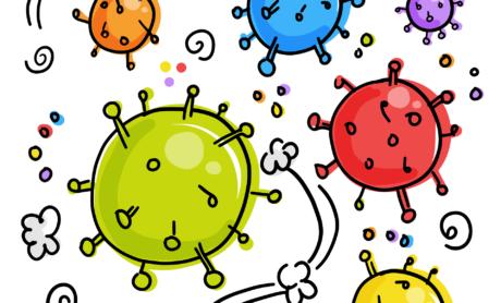 Viruszellen die herumschwirren