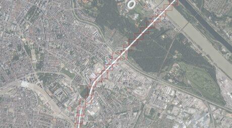 Wien von oben. Die Autobahn A 23 ist rot markiert.