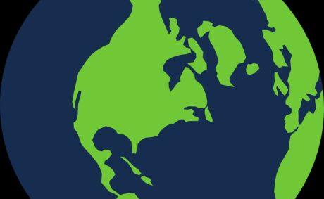 Grafik einer Weltkugel mit Nordamerika oben drauf