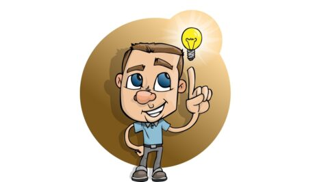 ein Mann mit einer Idee-Glühbirne