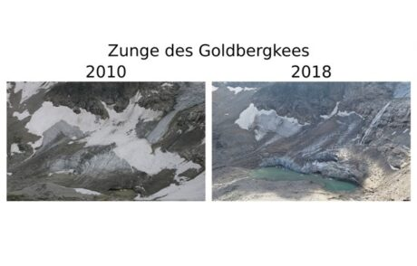 Gegenüberstellung Zunge des Goldbergkees 2010 und 2018, der Gletscherschwund ist deutlich sichtbar