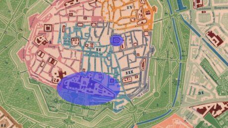 Ausschnitt eines historischen Stadtplanes von Wien. Stephansdom und Hofburg sind violett markiert.