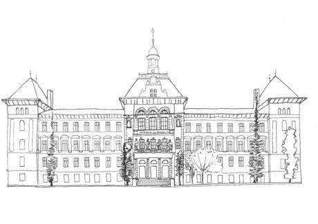 Zeichnung des Gregor-Mendel-Hauses