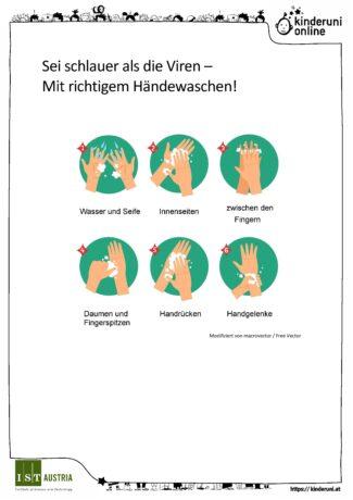 Plakat: Sei schlauer als Viren - mit richtigem Händewaschen! Wasser und Seife, Innenseiten, zwischen den Fingern, Daumen und Fingerspitzen, Handrücken, Handgelenke.