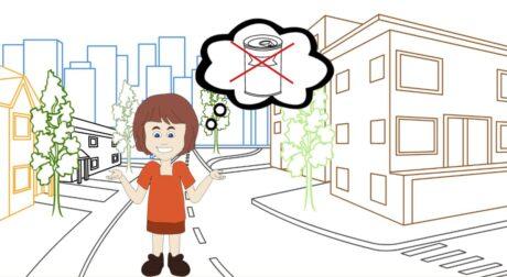 ein Kind in eienr Stadt, in dessen Gedankenblase sieht man eine durchgestrichene Konservendose