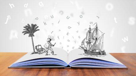 Die Geschichte in einem Buch erwacht zum Leben.