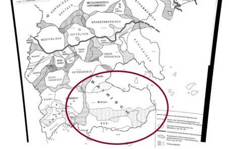 Dialekteinteilung und dargestellte Karte mit den einzelnen Sprachräumen des bairischen Raums