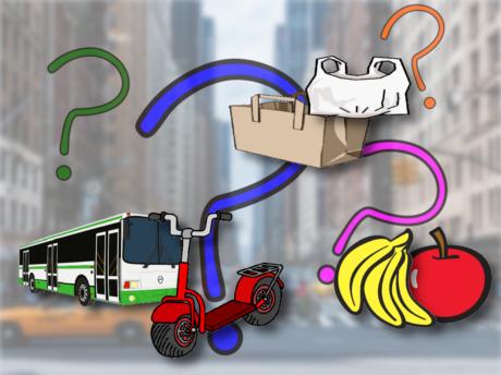 Im Hintergrud ist eine Straße mit Gebäuden zu sehen. Auf dem Foto sind Grafiken plaziert: Fragezeichen, Autobus, Roller, Obst, Einkaufskorb