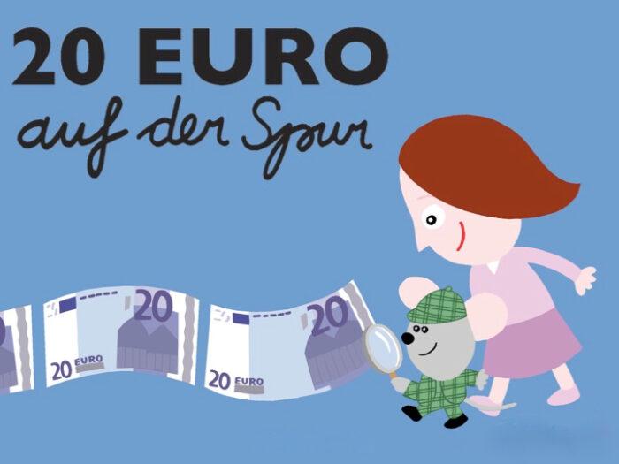 """Titelbild """"20 Euro auf der Spur"""" Julia und Maus Lewis untersuchen 20€-Scheine mit der Lupe"""