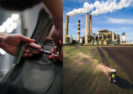 Frisör, Industrie und Landwirtschaft bilden die drei Wirtschaftssektoren ab