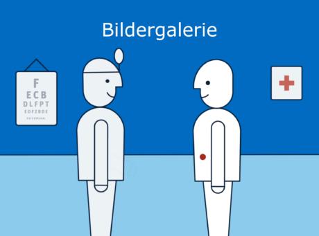 """Zeichnung eines Arztes und eines Patienten, Aufschrift """"Bildergalerie"""""""