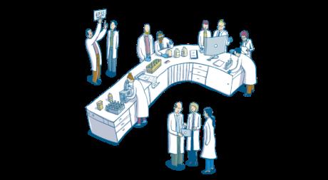 viele Wissenschafter*innen arbeiten am Labortisch