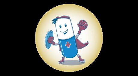 kleine Superheld-Figur in Form einer Pille