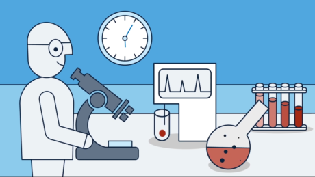 Person schaut ins Mikroskop, daneben Reagenzgläser