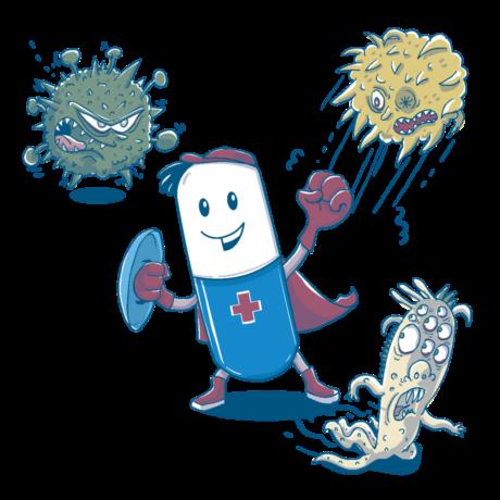 Eine kleine Tablette kämpft gegen Bakterien oder Viren