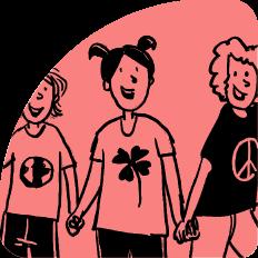"""Illustration Menschen geben sich die Hände und tragen die Symbole """"Welt"""", """"Glück"""" und """"Frieden"""" auf ihren T-Shirts"""