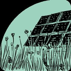 Illustration Wiese mit Solaranlage