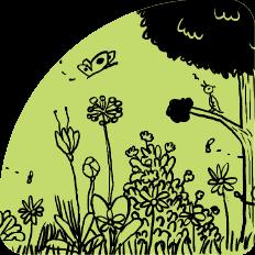 Illustration Bluemenwiese mit Baum und Insekten