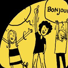 Illustration Kinder sagen Hallo in verschiedenen Sprachen