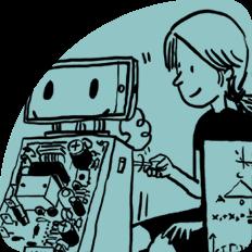 Illustration Mädchen schraubt an Roboter