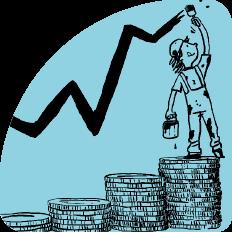 Illustration Kind auf Treppe aus Münzen zeichnet Börsenkurs