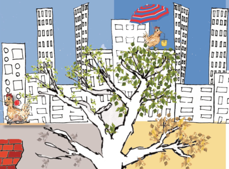 Zeichnung eines Baumes in einer Stadt