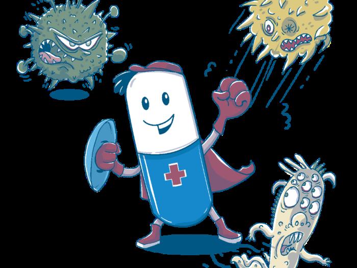 ein Medikament als Superheld kämpft gegen verschiedene Viren und Bakterien